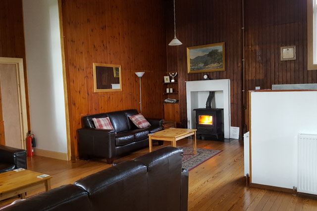 The log burner at Helmsdale Hostel