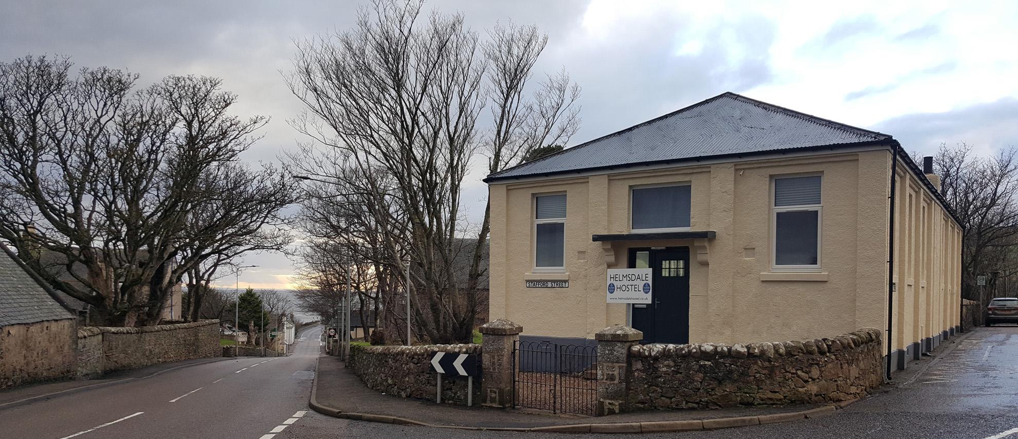 Helmsdale Hostel on Lejog outside view