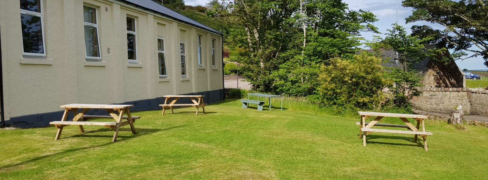 Garden seating at self catering hostel in Helmsdale